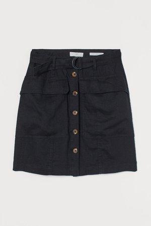Linen Utility Skirt - Black