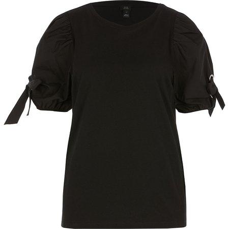Black short puff eyelet tie sleeve T-shirt | River Island