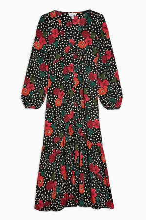Floral Button V Neck Midi Dress | Topshop