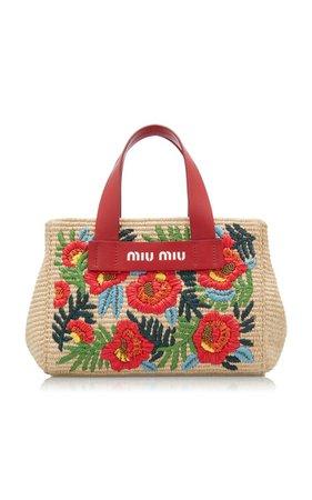 Embroidered Straw Tote By Miu Miu   Moda Operandi