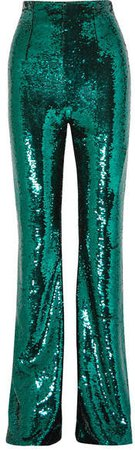 Newman Sequined Crepe Flared Pants - Emerald