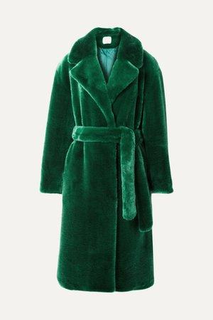 Green Luxe oversized faux fur coat   Tibi   NET-A-PORTER