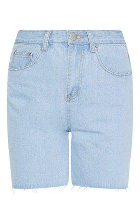 Light Wash Raw Hem Mom Shorts | Denim | PrettyLittleThing