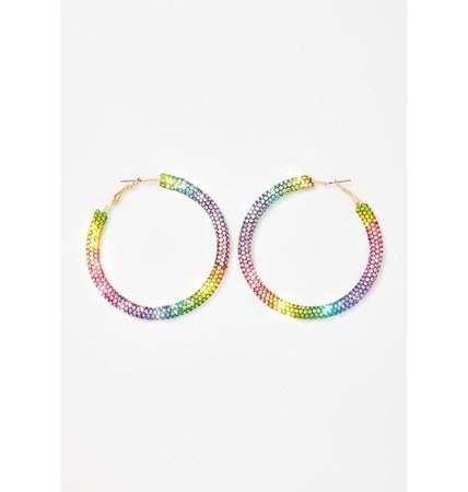 Rhinestone Hoop Earrings - Rainbow | Dolls Kill