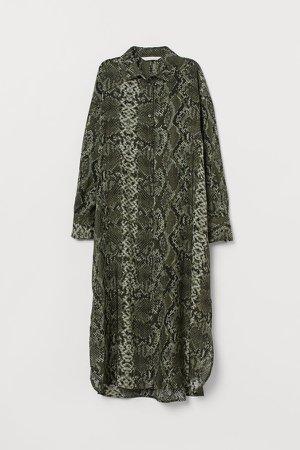 Calf-length Shirt Dress - Green