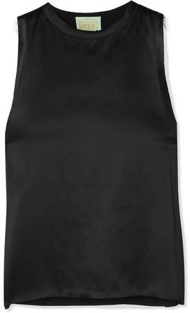 Luda Frayed Silk-satin Tank - Black