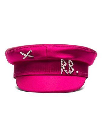 Pink Ruslan Baginskiy Crystal-Embellished Satin Baker Boy Hat   Farfetch.com