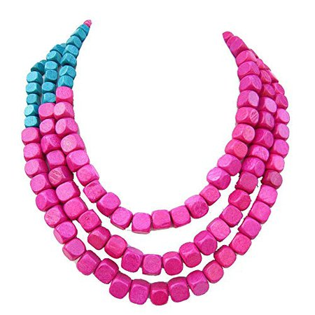 Amazon.com: Hot Pink,Blue Necklace,Fashion Bead Necklace Statement Necklace For Women Layered Necklace statement necklace,fashion jewelry,handmade jewelry,layered necklace Bridesmaid Gifts Wedding Gift Ideas: Handmade
