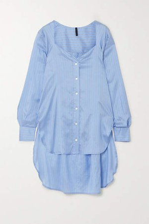 Asymmetric Striped Silk-satin Shirt - Light blue