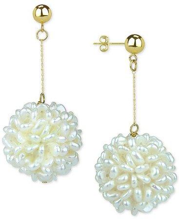 Macy's Cultured Freshwater Pearl (2-3mm) Cluster Drop Earrings in 14k Gold