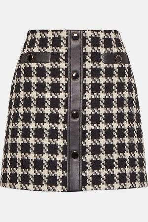 Houndstooth Button Mini Skirt | Karen Millen