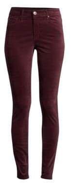 Women's Farrah High-Rise Velvet Skinny Pants - Rich Carmine - Size 29 (6-8)