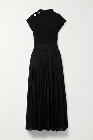 Button-embellished Stretch-jersey And Ribbed-knit Maxi Dress - Black