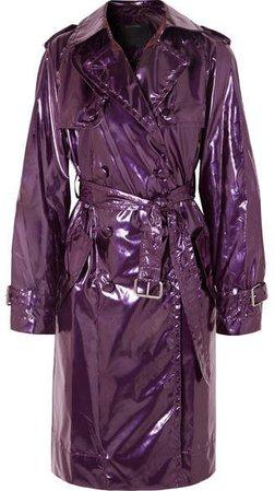 Metallic Vinyl Trench Coat - Purple