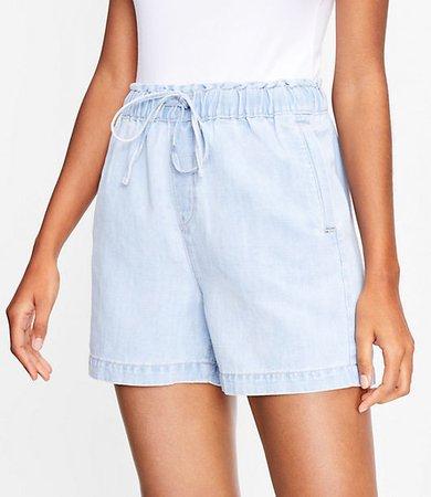 The Cotton Linen Denim Pull On Short in Light Indigo