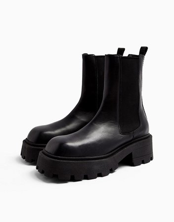 Topshop square toe leather chunky chelsea boots in black | ASOS