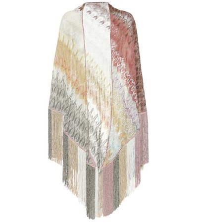 Fringed metallic shawl