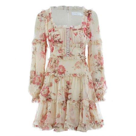 2019 Spring High Quality Long Sleeve Women Dress Flower Printed O neck Ruffled Luxury Boho Style Lady Mini dress Fashion Vestido-in Dresses from Women's Clothing on AliExpress