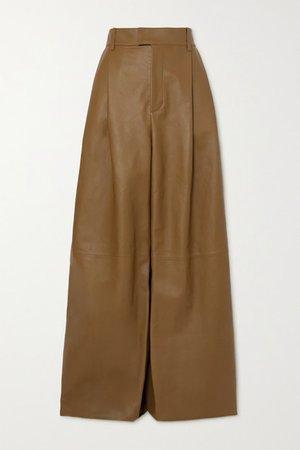 Leather Wide-leg Pants - Beige