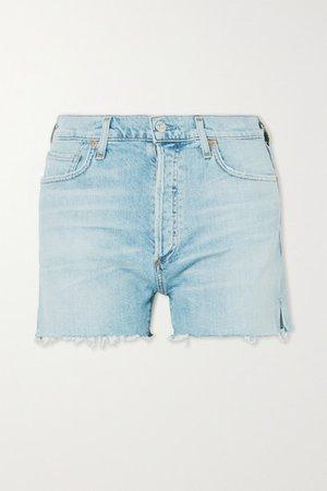 Marlow Distressed Organic Denim Shorts - Light denim