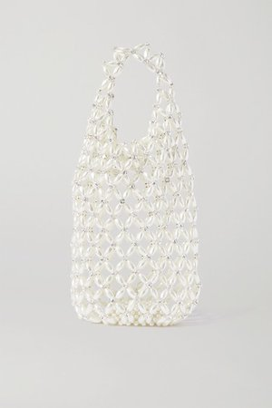 Crystal-embellished Beaded Tote - White