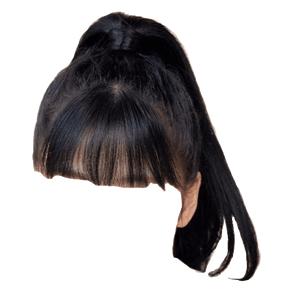 black hair ponytail bangs png