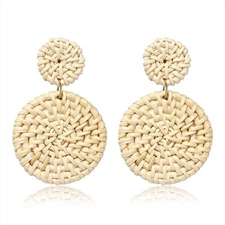 Amazon.com: BSJELL Rattan Earrings Woven Straw Double Round Drop Earrings Boho Statement Lightweight Wicker Earrings for Women (Beige): Clothing