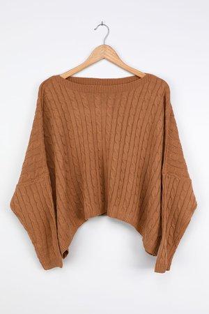Camel Knit Sweater - Oversized Cropped Sweater - Boxy Sweater