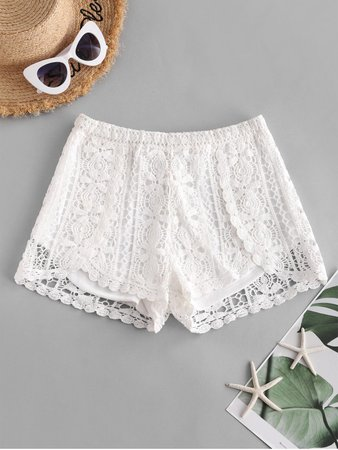 [24% OFF] [NEW] 2020 Lined Crochet Lace Beach Shorts In WHITE | ZAFUL