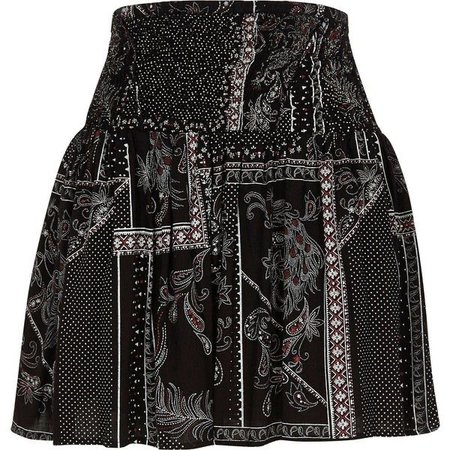 River Island Black scarf print shirred waist mini skirt ($50)