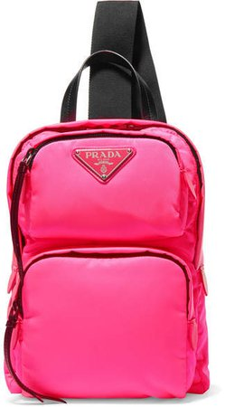 Leather-trimmed Neon Shell Backpack - Pink