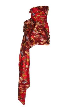 Oscar de la Renta Floral-Patterned Jacquard Strapless Mini Dress