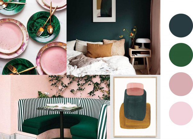 Pink and green mood board - iscd