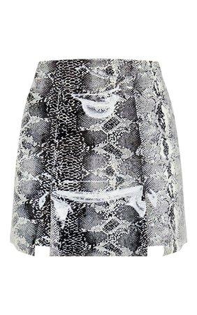 Black Vinyl Snake Print Double Split Mini Skirt | PrettyLittleThing