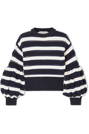 Self-Portrait | Striped open-knit cotton and wool-blend sweater | NET-A-PORTER.COM