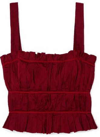 Frayed Ruched Crepe Bustier Top - Red