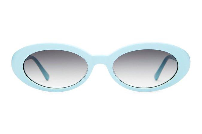 Crap® Eyewear | The Sweet Leaf Sky Blue Small Oval Sunglasses