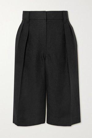 Pleated Linen Shorts - Black