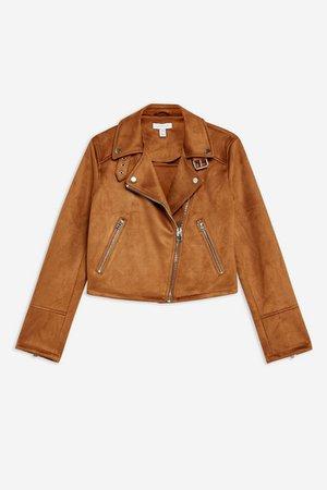 Suedette Biker Jacket | Topshop camel