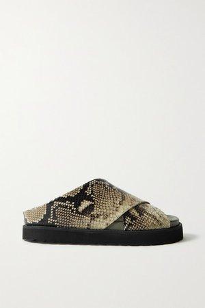Snake-effect Leather Platform Sandals - Snake print