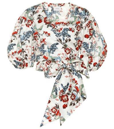 Erdem - Cylenne floral cotton-poplin crop top | Mytheresa