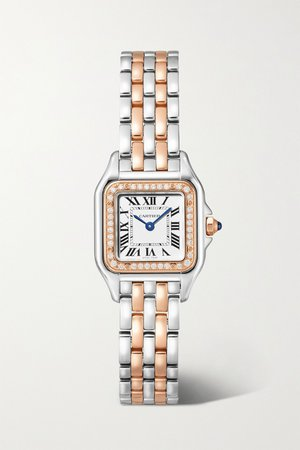 Gold Panthère de Cartier 22mm small 18-karat rose gold and stainless steel diamond watch | Cartier | NET-A-PORTER