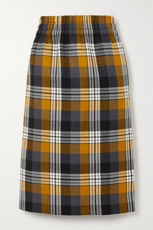 Checked Wool Midi Skirt - Mustard