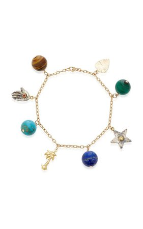 Multi-Gemstone 8-Charm Bracelet by Haute Victoire | Moda Operandi