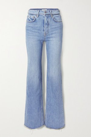 Carla Frayed High-rise Wide-leg Jeans - Mid denim