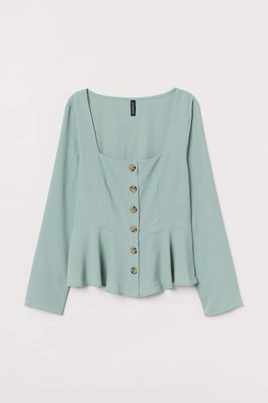 Button-front Blouse - Green