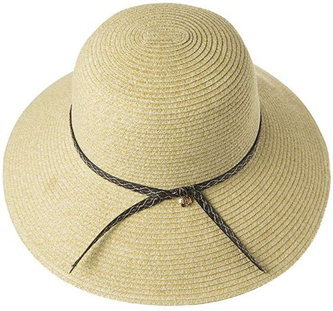 Womens Floppy Summer Sun Beach Straw Fedoras Panama Hats Packable Foldable Wide Brim Beige