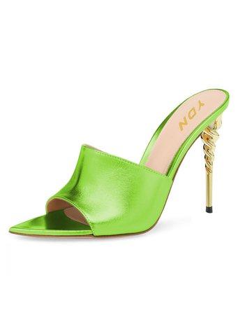 YND Stilleto Heels Mules Green Open Toe Fashion Shoes