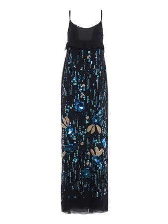 Prada Prada Embellished Chiffon Long Slip Dress