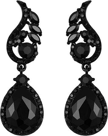 Amazon.com: Flyonce Wedding Bridal Rhinestone Crystal Teardrop Pierced Dangle Earrings for Women Black Black-Tone: Jewelry